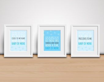 8x10 Digital Prints-Baby of Mine (Dumbo Song)-Blue and Gray Nursery-3 Pack - Baby Mine - Baby Room Decor - Download