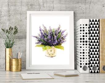 Lavender, watercolor, print, purple, mauve, Flower, Flowers, watercolour, Painting, Printed, poster, wall art, natural, shabby chic, pretty