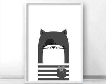 Cat Nursery Print, Printable Nursery Art, Kids Print, Instant Digital Download Print, Animal Nursery Decor, Cat Print, Printable Kids Art