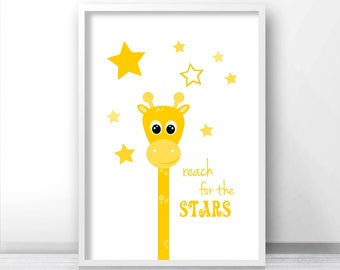 Yellow Nursery Art, Giraffe Wall Art, Stars Nursery Print,  Printable Kids Wall Art, Instant Download Nursery Art Print, Digital Nursery Art
