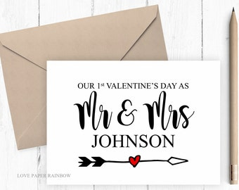 first valentines day as Mr and Mrs, Mr & Mrs, 1st valentines day married, valentines day card, valentines card, our first valentines day