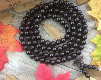 108pc 8mm /6mm Ebony Black Wooden Beads Buddist DIY Handmade Prayer Beads Japa Mala Necklace