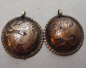 Two Buddhist Metal Amulets Pendants with Lion and Bird from Nepal, Buddhist Jewelry, Folk Amulet, Tribal Art, FREE SHIPPING