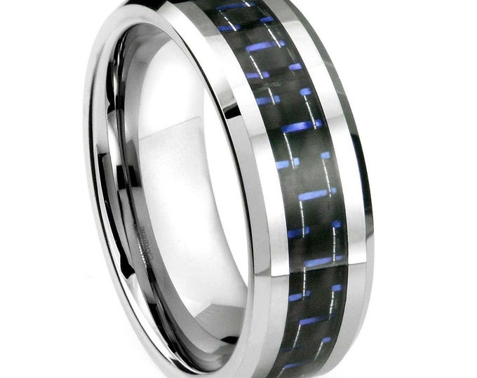 8 mm  Blue & Black Carbon Fiber Tungsten Carbide Men's /Women's Ring Band Sizes 6-11.5 -8mm - Comfort fit