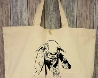 Goat, cotton bag XL natural