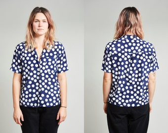 1980s Blue & White Polkadot Print Short Sleeve Button Up Shirt • S
