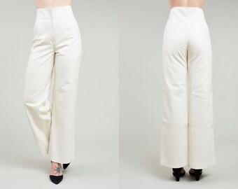 90s Jil Sander Supple White Leather High Waist Wide Leg Pants • 29