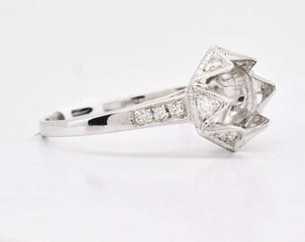 18K White Gold & Diamonds Engagement Ring semi mount 2.3 grams 0.20cttw F/VS1