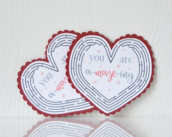 Mini Heart Maze Valentine's Cards Set of 12: you are a-amaze-ing, valentine game, small cards, mini, sweet sayings, puns, school- LRD014V