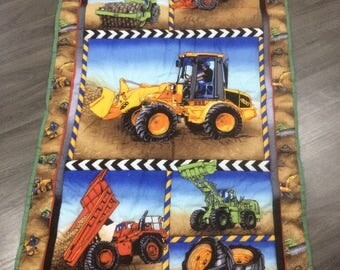 JCB and other diggers in a quilt/playmat/throw