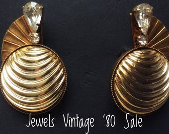 Vintage large rhinestone earrings golden years ' 80 Vintage Golden Earring with strass
