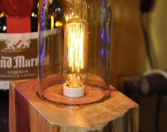 EXPIRATION SALE!! Edison Candelabra Accent Lamp on Cedar Base with Wine Bottle Globe