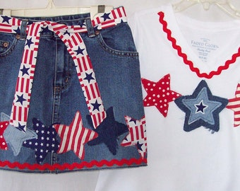 Custom boutique Made to Order 4th of July Patriotic skirt & shirt set all sizes available