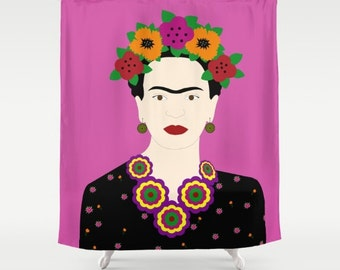 Frida Kahlo Shower Curtain-Cool shower curtain-Fuchsia shower curtain-Designer modern bathroom decor-Modern Shower Curtain-Colourful bath
