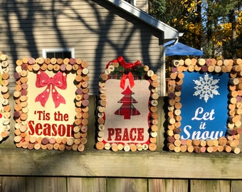 Hanging Corked Christmas Signs