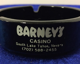 Barney's Casino Ashtray South Lake, Tahoe Black Glass