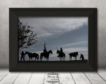 Civil War Soldiers, Silhouette, Photographic, Fine Art Image, Civil War Print, Symbolic, Calvary Print, Horse Print, Military Print, Gift