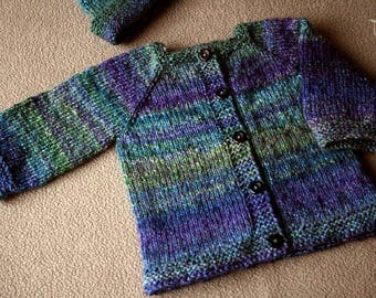 Unique handknitted merino/silk baby cardigan and hat