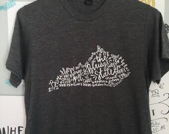 Hand Lettered THE BLUEGRASS STATE Kentucky Word Art Tee