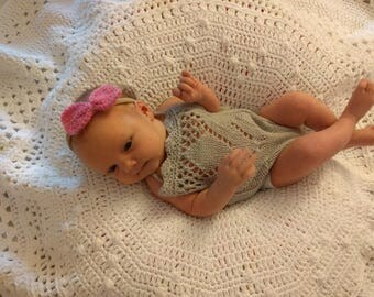 New born photo prop romper gray and light brown