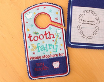 Tooth Fairy please stop here Door Hanger, tooth chart, Pocket, Tooth Fairy Pillow Alternative, boy  colors, red, blue, Canada.