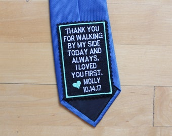 Father of the Bride Gift, Wedding tie patch, tie label, wedding favor, sew-on,iron-on option, thank you for walking by my side, BLACK. TPR1A
