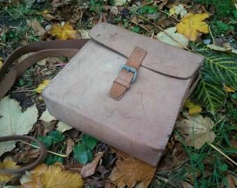 Vintage  leather tool bag, electricians bag. French national railroad work bag. Man bag. Artist bag, Box Purse, Leather tool bag