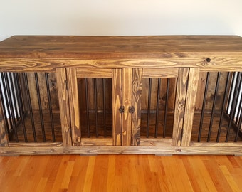 wood and metal dog kennel