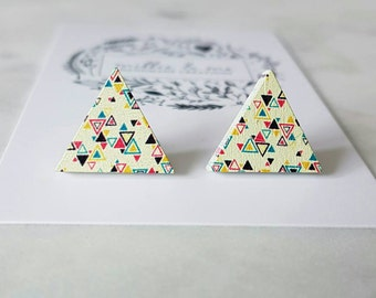 Wooden triangle stud earrings
