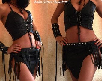 Buffalo Medieval pixie skirt,Burning Man, leather skirt, warrior princess, Renaissances skirt, Belly dance, festival, fringed leather