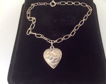 Vintage Sterling Silver 1940s two Dogs Puffy Heart Charm Bracelet