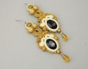 Royal earrings, statement earrings, golden earrings, luxury earrings long drop earrings crystal earrings, bohemian earrings wedding earrings