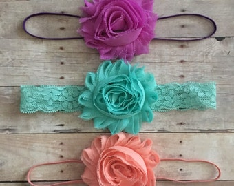 Baby Headband Set, Baby Girl Headbands, Shabby & Chic, Baby Shower Gift, Newborn Headbands, Baby Gift, Girls Headbands, Baby hair bows