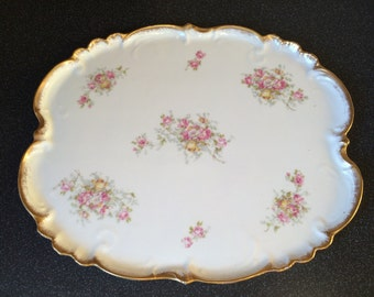 Beautiful, Large Porcelain Dressing Table/Boudoir Tray/Dish. Scalloped Gold Trimmed Edges. Limoges Perhaps?