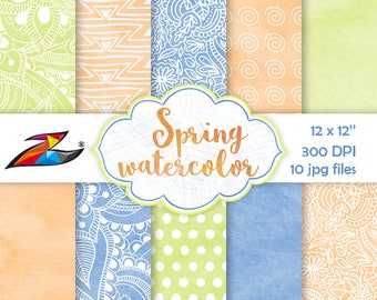 Spring digital paper floral background watercolor texture easter digital paper commercial use blue orange yellow scrapbook paper