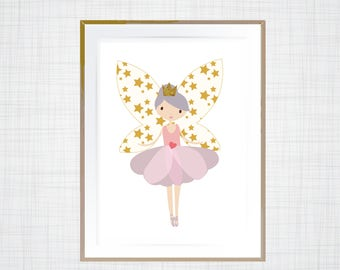 Fairy Ballerina pink, purple and gold prints