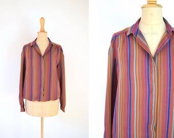 1980s copper striped silk blouse / size 8 - 10 / copper red blue striped silk / puffed shoulders
