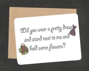 Bridesmaid Card, wedding favor, bridal shower favor, bridal favor card, greeting card