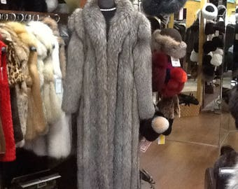 Silver fox full length coat