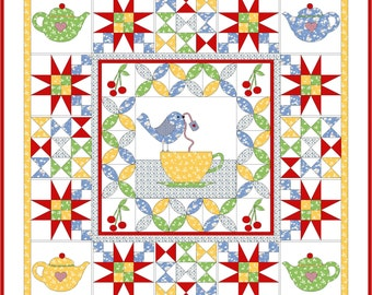 Tea Time wall hanging quilt pattern