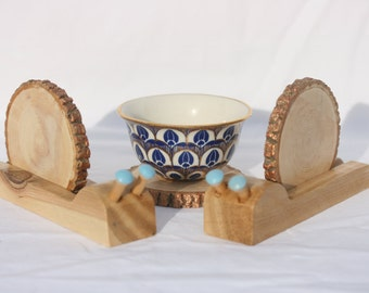 Wooden Snail Coasters with Blue Tentacle Eyes - Set of 4 - drink coasters