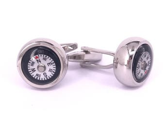 Black and White Compass Cufflinks