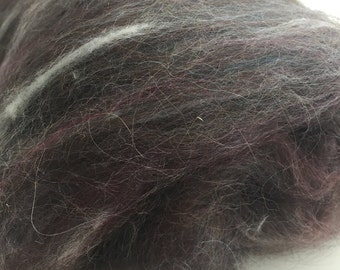 Carded Llama Wool - Spinning Fiber - Llama/Angora Wool Blend - Rusty Gate Fiber Roll