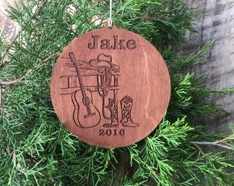 Ornament, Christmas Ornament, Cowboy Ornament, Cowboy Boots, Cowboy Hat, Rope, Guitar, Ornament for Cowboys