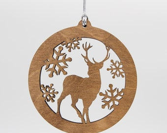 Dog Christmas Ornament Custom Engraved Wooden Tree