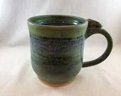 Extra-Large stoneware pottery mug with thumb rest- matte bronze green and blue glaze (XL 16 oz), ceramic mug, handmade mug