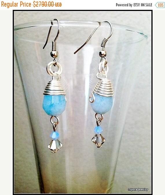 Free Shipping - Blue drop earrings, Statement Earrings, Azure Dangle Earrings, Small Womens Earrings, Light Blue Earrings, Womens Ball Earri