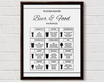 Beer Chart, Beer Pairing, Food Pairs, Beer Print, Beer Lover Gift, Beer Diagram, Boyfriend Gift, Beer Print, Beer Poster, Beer Food Chart