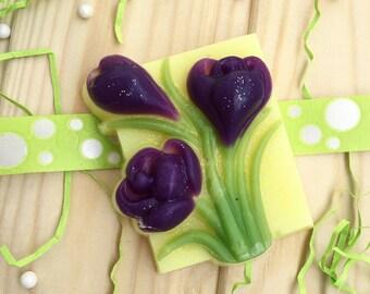 Natural Handmade Spring Violet Crocus Flower Soap
