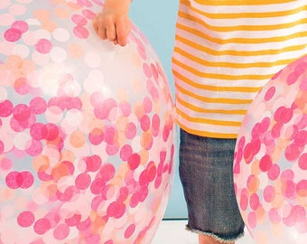 Balloons | Pink Confetti Balloons | Confetti Balloons | Giant Balloons Pink Confetti | Party Balloons | 3 Per Pack | Baby Shower